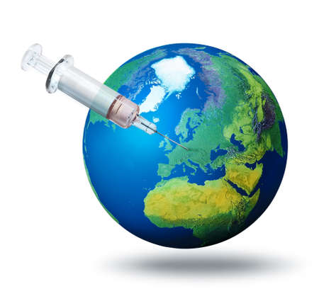 Pandemic vaccination concept, syringe needle on planet Earth and Europe, isolated on white background Standard-Bild