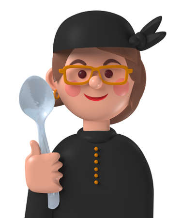 Cartoon character 3d avatar smiling caucasian female professional cook isolated on white