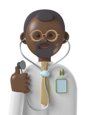 Cartoon character 3d avatar smiling black professional doctor isolated on white