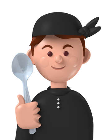 Cartoon character 3d avatar smiling caucasian male professional cook isolated on white