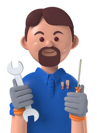 Cartoon character 3d avatar smiling caucasian professional mechanic worker isolated on white