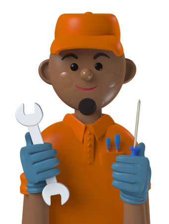 Cartoon character 3d avatar smiling black professional mechanic worker isolated on white Standard-Bild