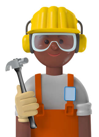 Cartoon character 3d avatar smiling brown professional construction worker with safety gear isolated on white Standard-Bild