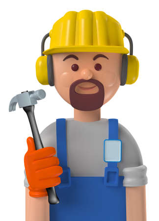 Cartoon character 3d avatar smiling caucasian professional construction worker with safety gear isolated on white Standard-Bild