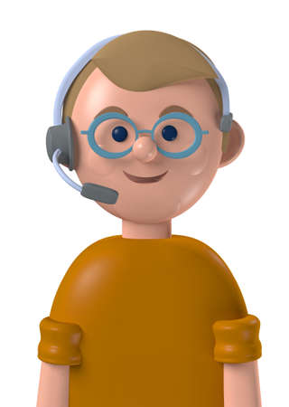 Cartoon character 3d avatar smiling caucasian professional customer service male worker isolated on white Standard-Bild