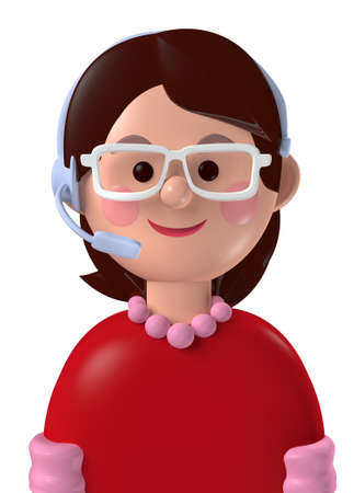 Cartoon character 3d avatar caucasian female customer service person isolated on white