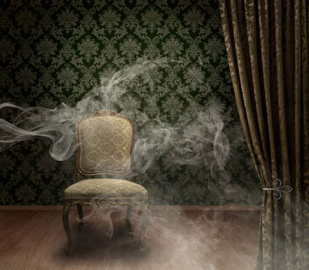 Antique empty chair on mystic dark stage with smoke trails dramatic background damask pattern wall