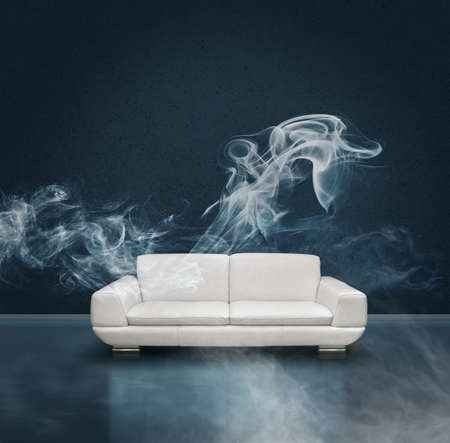 Dark blue room with white leather sofa, faint mysterious smoke trails, mystery concept background