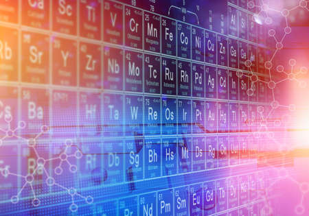 Periodic table of elements abstract physics scientific concept