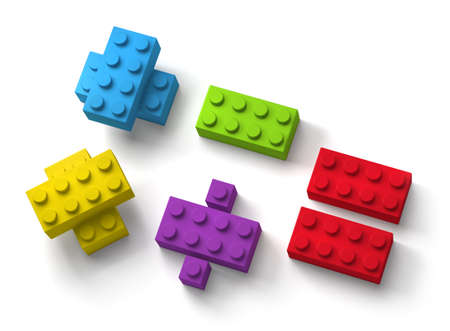 Colorful toy building blocks mathematic symbols 3d isolated on white background Standard-Bild