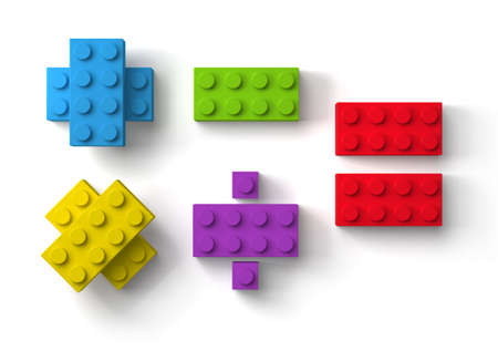 Colorful toy building blocks mathematic symbols 3d top view isolated on white background