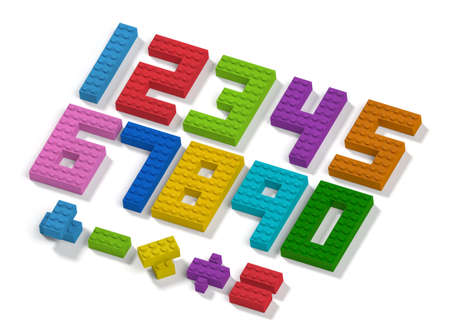 Colorful toy building blocks numbers and mathematic operation symbols 3d top view learning concept