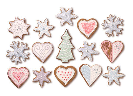 Sweet Christmas gingerbread cookies collection with colorful sugar icing decoration, isolated on white background
