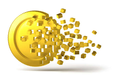 Crypto currency golden virtual money coin breaking into scattered digital pixel blocks, 3D cryptocurrency prices concept Standard-Bild