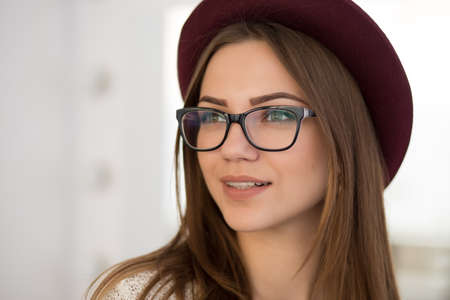 preppy: Woman in glasses for good vision Stock Photo