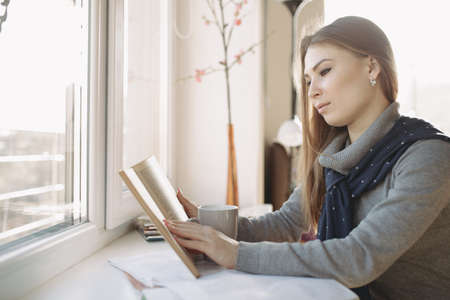 25 29 years: Woman reading a book near the window Stock Photo