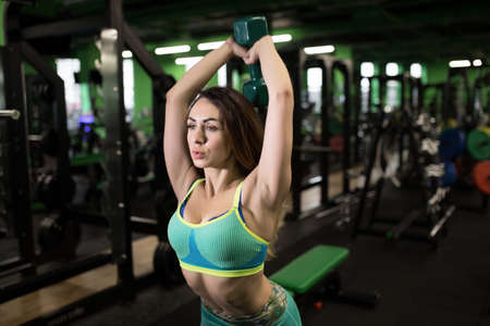 body built: Strong woman doing exercise in gym. She lifting dumbbell.