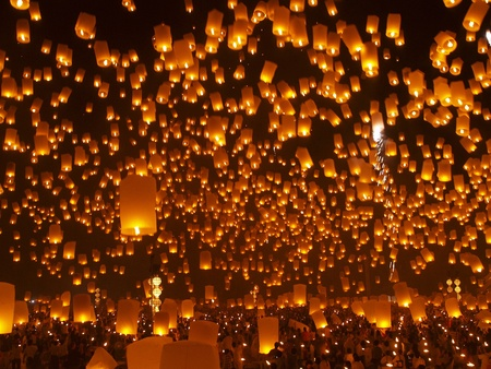 Floating lanterns Festival or Loi Krathong Festival,  the greatest celebration on the full moon Novemberin Chiangmai Thailand