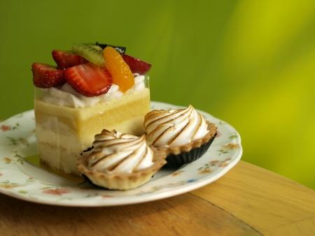 sweet tart: Fruitcake, cake French Style Cake with colorful background  Stock Photo