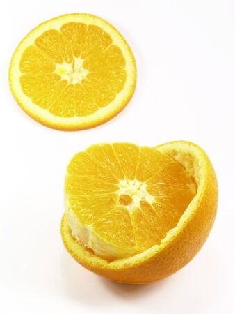 closeup of orange, isolated white background photo