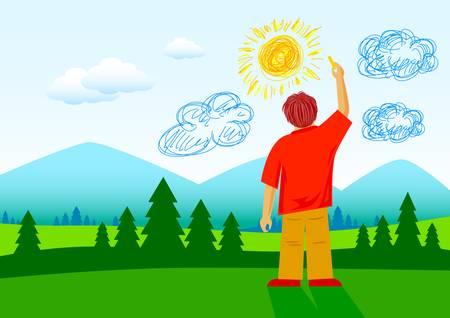 Boy in summer landscape         Vector