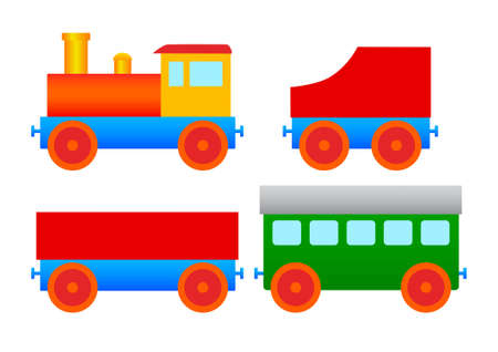 railway transportations: Wooden toy         Illustration