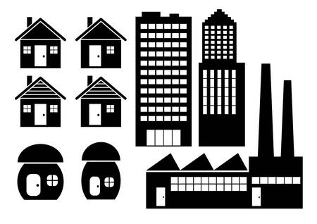 Icons of buildings        Vector