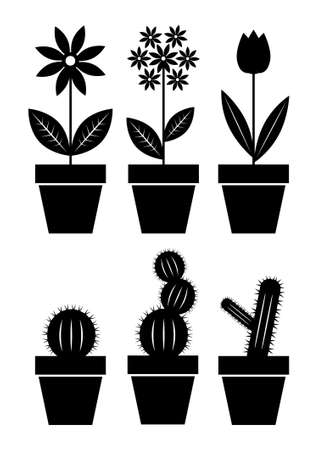 plant pot: Icons of flowers