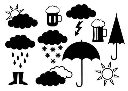 lluvia paraguas: Iconos negros sobre fondo blanco