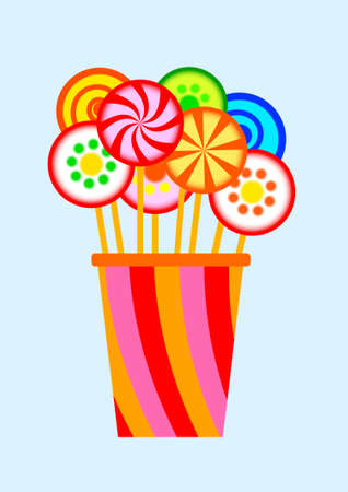 Cup with lollipops