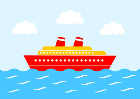 Red ship on blue sea  Vector