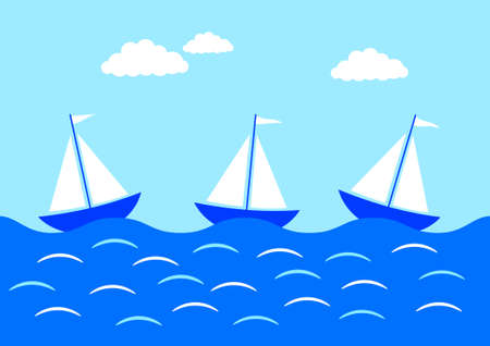 Three sailboats on blue sea Vector