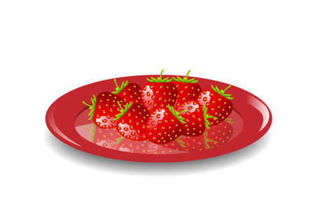Strawberries on red plate Stock Vector - 11194725