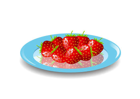 Strawberries on blue plate Stock Vector - 11194702