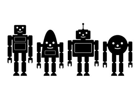 Black icons of robots