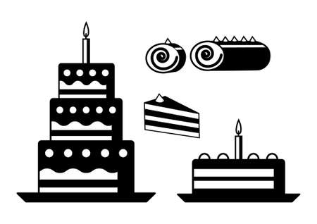 Cakes on a white background            Vector