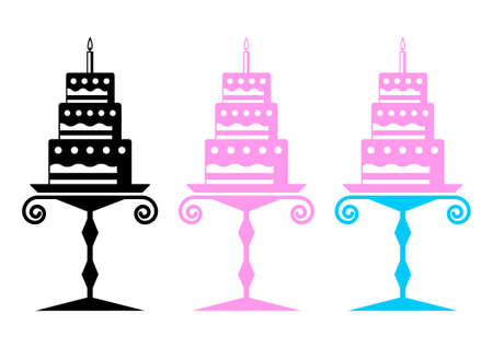confection: Cakes on a white background