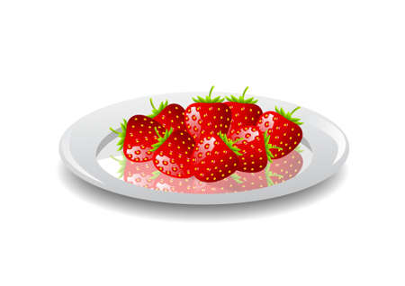 Strawberries on white plate  Stock Vector - 11194701