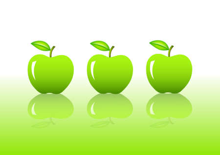 ripened: Three green apples