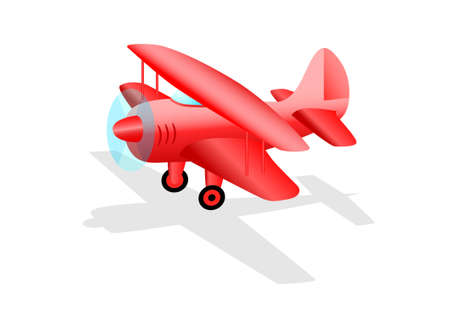 Red plane on white background Vector