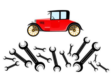 Repair of old car         Vector