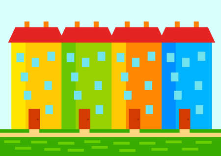 populated: Colorful buildings  Illustration