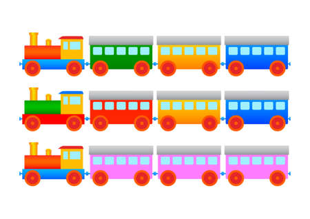 Collection of wooden trains         Vector