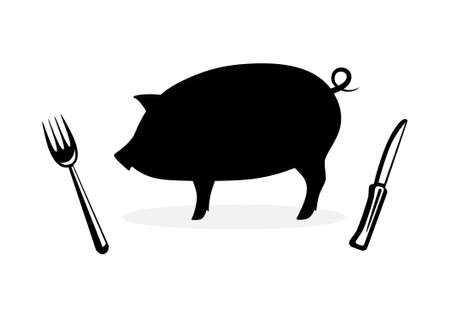 husbandry: Silhouette of pig        Illustration