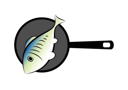 Fish on pan Stock Vector - 11864151
