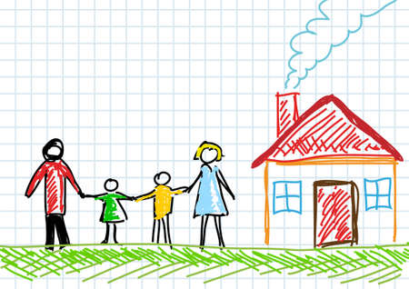 Drawing of family with house  Vector