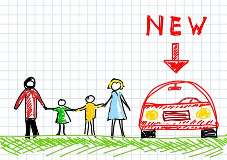 Drawing of family with new car Vector