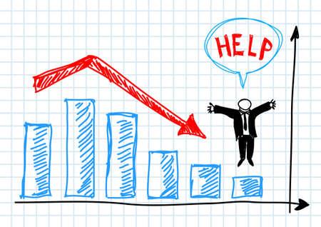 to fail: Blue graph Illustration