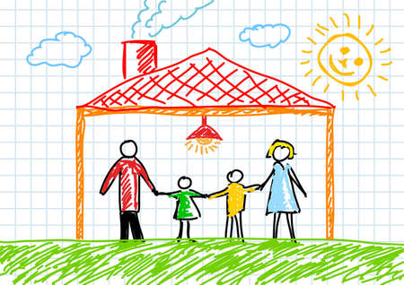 Drawing of family in house