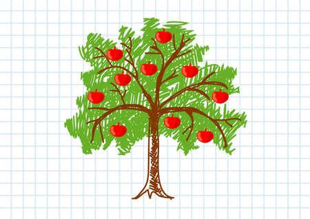 appletree: Drawing of apple-tree Illustration